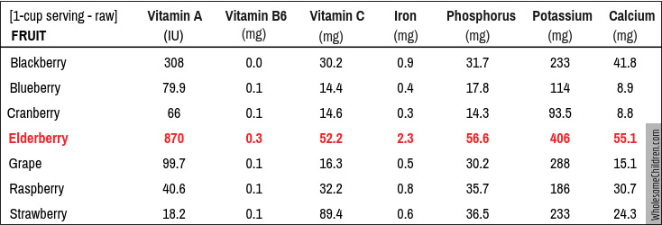 Elderberry - nutritional facts. [Data collected from http://nutritiondata.self.com]